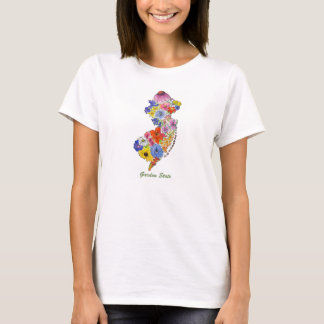 Garden State Map NJ Wildflowers t-shirt
