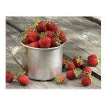 garden strawberries in mug post cards