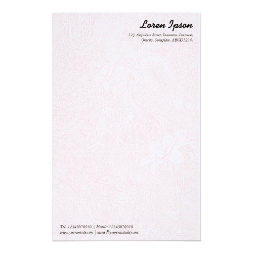 Garden - Subtle Pink Personalized Stationery