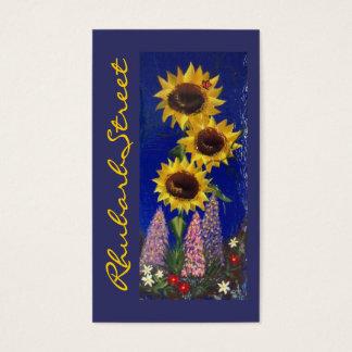 Garden Sunflowers - Blue Business Card