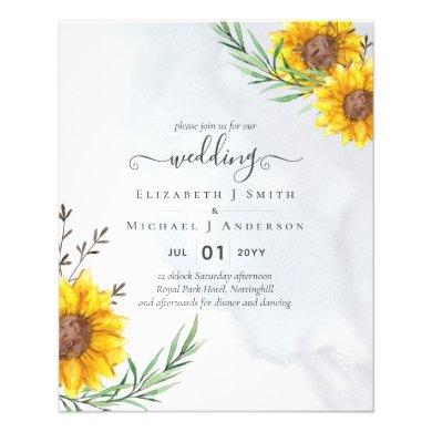 Garden Sunflowers Blue Rustic Boho Wedding Flyer