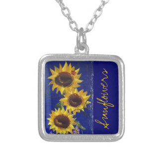 """Garden Sunflowers"" necklace; RhubarbStreet Square Pendant Necklace"