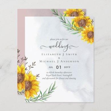 Garden Sunflowers Pink Rustic Boho Wedding