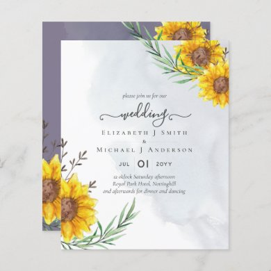 Garden Sunflowers Purple Rustic Boho Wedding