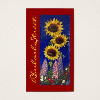 Garden Sunflowers - Red Business Card