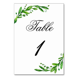 Garden table number. Woodland wedding. Green table Card