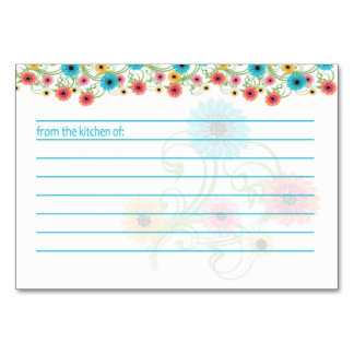 Garden Tea Colorful Flowers Recipe Card