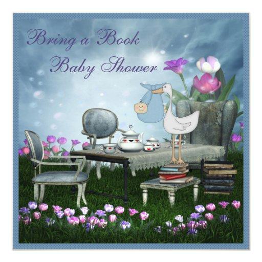 Garden Tea Party Bring A Book Baby Shower Card