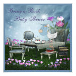 """Garden Tea Party Bring A Book Baby Shower 5.25"""" Square Invitation Card"""