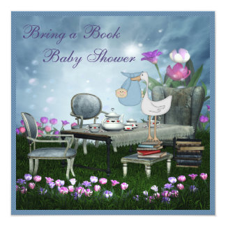 "Garden Tea Party Bring A Book Baby Shower 5.25"" Square Invitation Card"