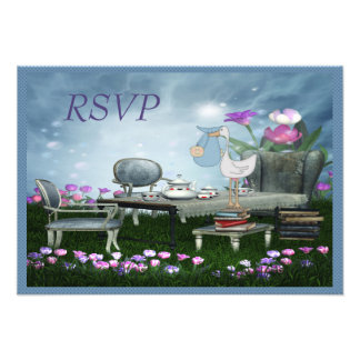 Garden Tea Party Bring a Book RSVP Baby Shower Custom Invitation