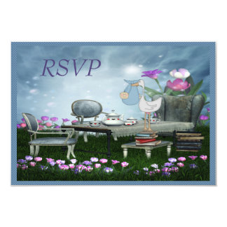 "Garden Tea Party Bring a Book RSVP Baby Shower 3.5"" X 5"" Invitation Card"