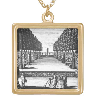 Garden Theatre at Herrenhausen, engraved by Joost Square Pendant Necklace