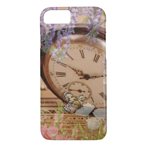 Garden Time Victorian Collage in Purple Pink White iPhone 8/7 Case
