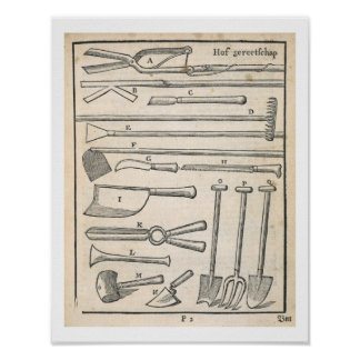 Garden tools, from 'The Dutch Gardener' by Johann Poster