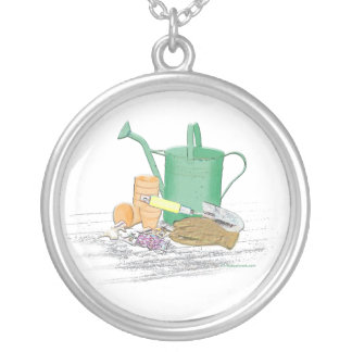 Garden Tools Garden Art Round Pendant Necklace