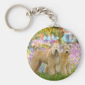 Garden - Two Wheaten Terriers Keychain
