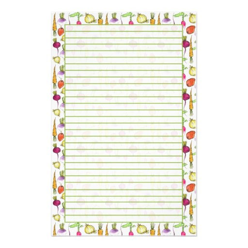Garden Vegetable Lined Stationery Paper