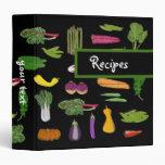 Garden Vegetables Custom Vegetarian Vegan Recipes Vinyl Binder