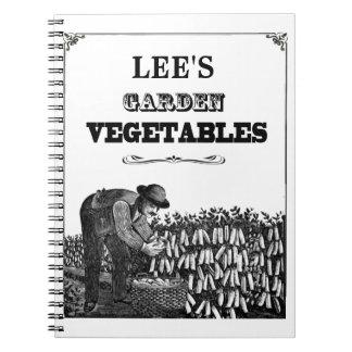 Garden Vegetables - Vintage Look - Customizable Notebook