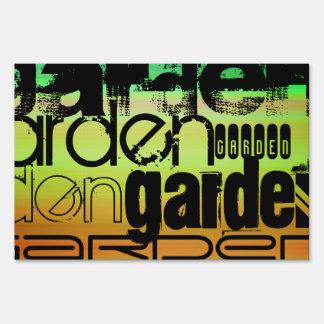 Garden; Vibrant Green, Orange, & Yellow Lawn Sign