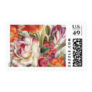 Garden View Tossed Flowers Postage Stamp