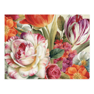 Garden View Tossed Flowers Post Cards