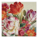 Garden View Tossed Flowers Poster