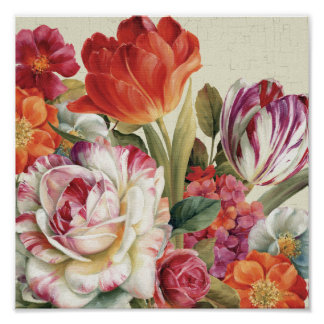 Garden View Tossed Flowers Posters