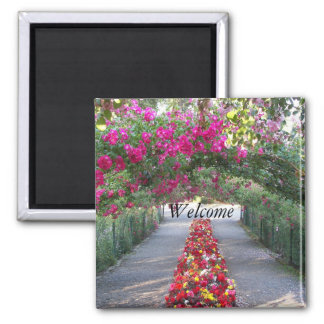 Garden Walk Floral Photo 2 Inch Square Magnet