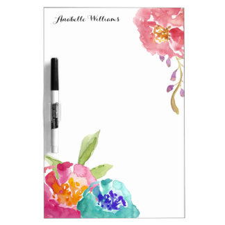 Garden Watercolor Personalized Dry Erase Whiteboards