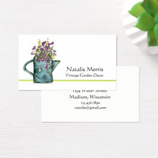 Garden Watering Can Flower Bouquet Business Card