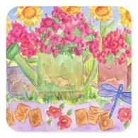 Garden Watering Can Sticker Flower Summer Bouquet
