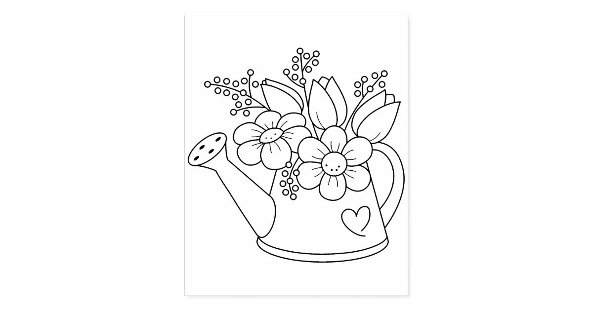Garden Watering Can with Flowers Coloring Page Rubber