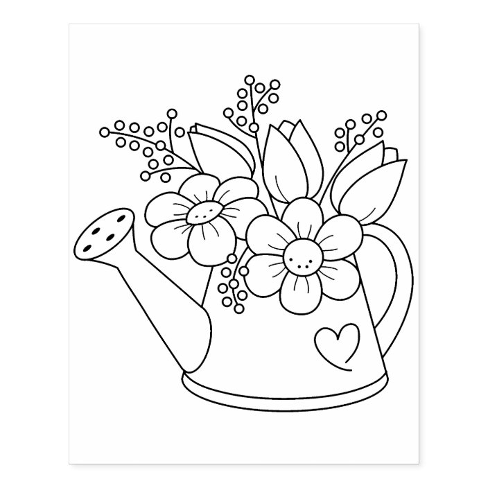 - Garden Watering Can With Flowers Coloring Page Rubber Stamp Zazzle.com