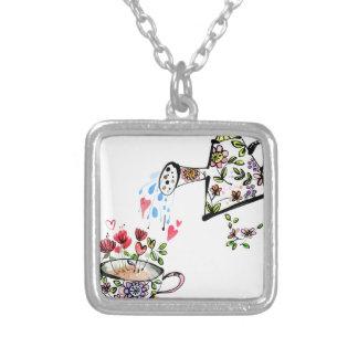 Garden watering flower gardening silver plated necklace