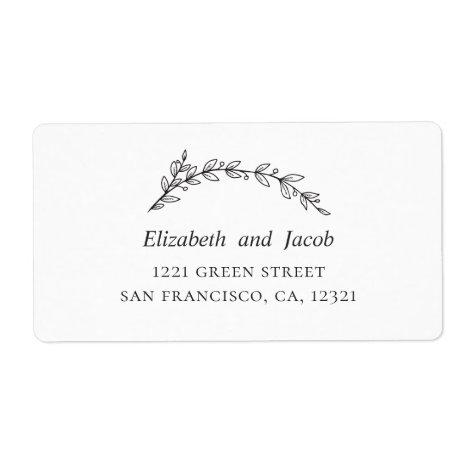 Garden wedding. Botanical black and white address Label