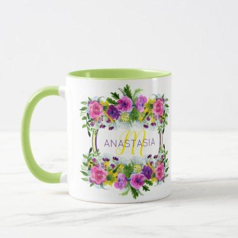 Garden Wedding Party Watercolor Floral Monogram Mug