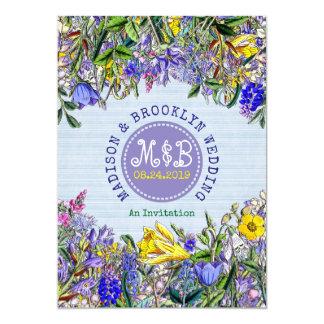 Garden Wedding Wildflowers Monogram Vintage Floral Card