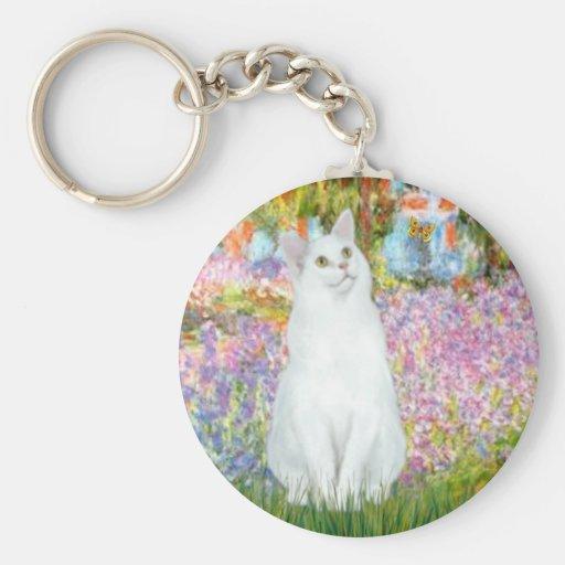 Garden - White cat Keychains