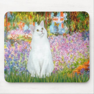 Garden - White cat Mouse Pad