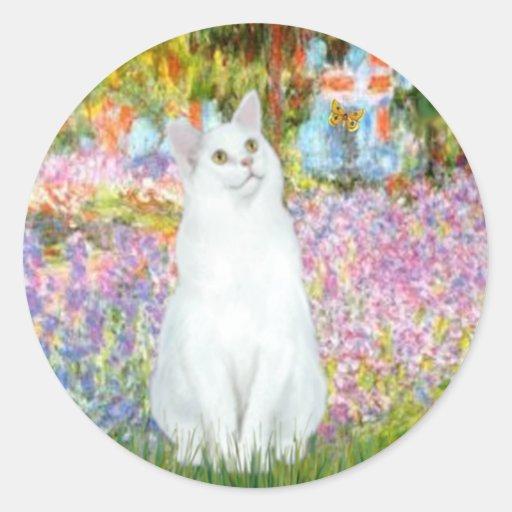 Garden - White cat Sticker