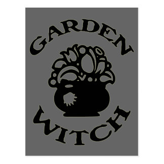 Garden Witch Cauldron with Flowers Post Card