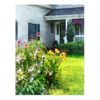 Garden with Coneflowers and Lilies Postcard