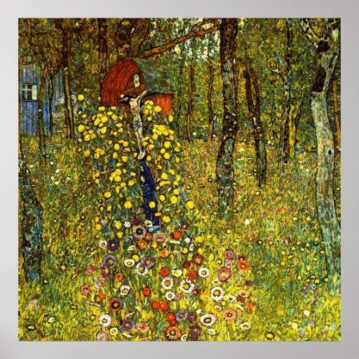 Garden with crucifix by Gustav Klimt Poster