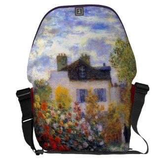 Garden with Dahlias by Claude Monet Fine Art Messenger Bag