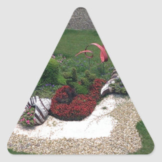 Garden with Dolphins Triangle Sticker