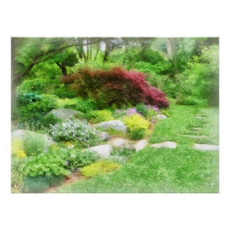 Garden With Japanese Maple Poster