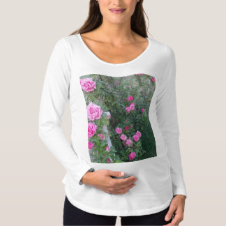 garden with pink roses design maternity shirt