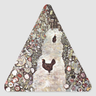 Garden with Roosters Cute Triangle Stickers